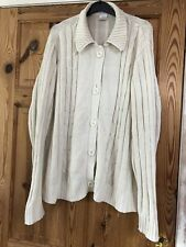 Ladies Cream Collared Cable Knit Detail Cardigan Size 22-24