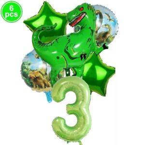 6 pcs Red Dinosaur Animal Foil Balloons Age Birthday Party Decor Set Kids Toys