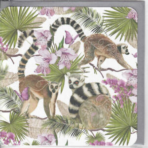 Lemurs And Flowers Glitter Greetings Card Nigel Quiney birthday blank inside