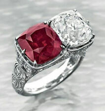 3ct Cocktail Party Ring inspired 925 Sterling Silver Red & White Cushion Vintage