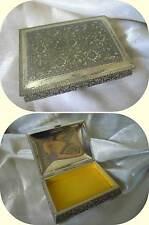 Scatola Cofanetto Vintage Porta Gioie in metallo interno raso giallo imbottito