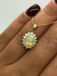 18CT YELLOW GOLD DIAMOND AND OPAL NECKLACE PENDANT CHAIN  GOY1038