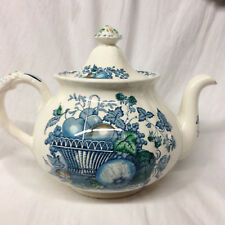 MASONS FRUIT BASKET BLUE MULTI-COLOR TEAPOT 44 OZ FRUIT & SCROLLS