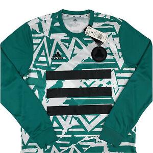 Adidas Tan Adv Soccer Jersey Mens Small Long Sleeve White Green Comfort FM0835