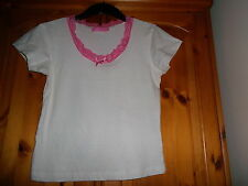 White and pink short sleeve pyjama top, WHISPER, size 10 - 12