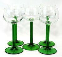 "Vtg 70's LUMINARC FRANCE 4 oz Emerald Green Stem  6.25"" Wine Glasses Set of 5"