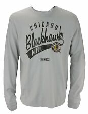 CCM NHL Men's Chicago Blackhawks Long Sleeve Distressed Thermal Shirt, Grey