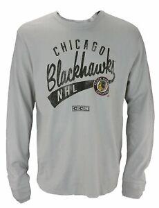 CCM NHL Men's Chicago Blackhawks Long Sleeve Distressed Thermal Shirt, Grey