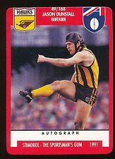 1991 Scanlens Stimorol Hawthorn Hawks  No. 49 Jason Dunstall Near MINT
