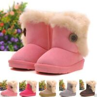 New Girls' Kids Furry Lined Soft Winter Warm Ankle Boot Snow Boots Shoes Booties