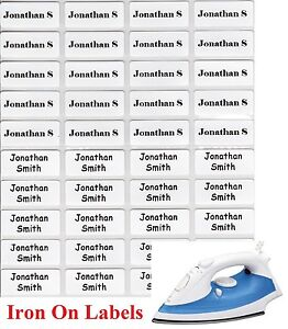 24 White Iron On Personalised Name Clothing Labels - Small (22*09mm) Warm Wash
