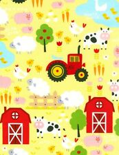 Nursery Baby Fabric - Farm Barn Tractor Pig Sheep Cow - Timeless Treasures YARD
