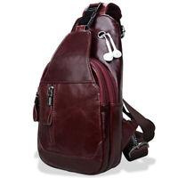 Men's Sling Backpack,100% Genuine Leather  Chest bag Crossbody Bag Shoulder Bag