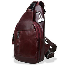 Men's Sling Backpack,100% Genuine Leather  Chest bag Crossbody Bag Shoulder Bag