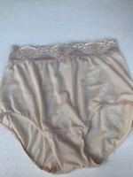 Vintage Bali Size 7 Large High Cut Leg Wide Floral Lace Stretch Satin Panties