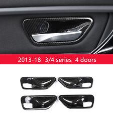 Carbon Fiber Type Inner Door Handles Bowl Decor Cover Trim For BMW F30 F32 F36
