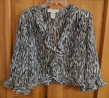 Norton McNaughton 14L Top Cover Up Layer Sheer Open Front Zebra Animal Career A2