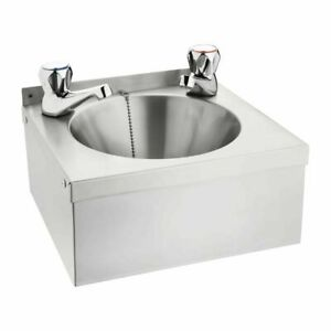 Commercial Stainless Steel Catering Hand Wash Basin with taps 165Hx305Wx268Dmm