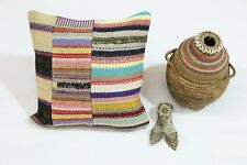 Handmade Cushion Cover Colorful 16x16 Ethnic Pillow Case Traditional Vintage