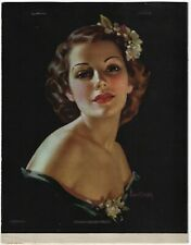 Vintage 1930s Pin-Up Light of Her Eyes Pearl Frush Litho Print Color Seps Unique