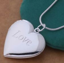 925 Sterling Silver Heart Locket Pendant Necklace Photo Love Snake Chain GiftBox