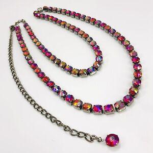 "Red Gunmetal Rhinestone Necklace Aurora Borealis Pink Faceted Gems 28"" Long"