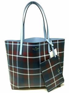 Kate Spade Mya Reversible Leather Tote + Pouch Plaid / Blue WKRU5545 NWT $299
