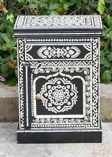 Bedside Cabinet Lamp Side Table Black and White Hand Painted Bone Inlay Pattern