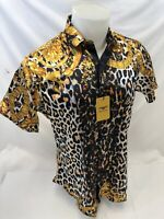 Mens PREMIERE Short Sleeve Button Down Dress Shirt BLACK GOLD LEOPARD NWT SS-005