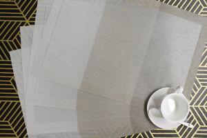 """Placemats Set of 6 Heat-Resistant PVC Woven Washable Non Slip 17.7""""x11.8"""""""