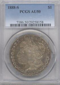 1888-S Morgan Dollar PCGS AU-50 BEAUTIFUL TONING