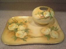 """1913 P&P LIMOGES HAND PAINTED ROSES 13"""" TRAY and BOWL SIGNED L. DANE"""