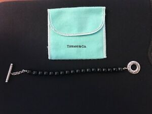 """Tiffany & Co. 925 Sterling Silver 8mm Black Onyx Toggle Bracelet 7.5"""" in Pouch"""