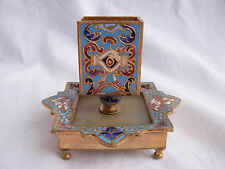 ANTIQUE FRENCH ENAMELED BRONZE,ONYX MATCHBOX HOLDER,LATE XIX CENTURY.