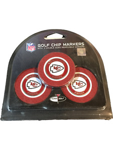 NFL Golf Chip Markers 3 Double Sided Removable Markers Kansas City Chiefs