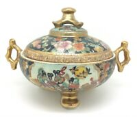 "Japanese Satsuma Porcelain Large Bowl with Lid Geisha Scene 7"" 18cm"