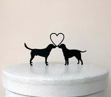 Wedding Cake Topper - Two labrador retrievers with heart