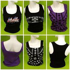 Ladies Vest Top - Graffiti - Spray Paint - Tattoo - size 8-12 - Black or Purple