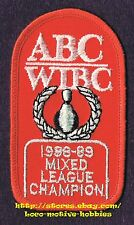 """LMH PATCH Badge  ABC 1988 '89 LEAGUE CHAMPION American Bowling  WIBC Womens 3.5"""""""