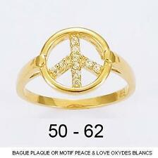 Bague T52 Peace And Love Pavé Cz 11mm Plaqué Or 18K 5 Microns Dolly-Bijoux