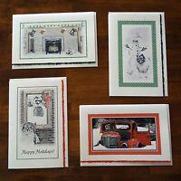 Keeshond Dog Old Fashioned Art Christmas Cards
