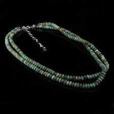 2 Strand Sterling Silver REAL Green Turquoise Necklace