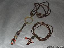 PRETTY EARTHY TONES BEADED ABALONE CHARM DROP NECKLACE & BRACELET SET AVON