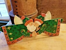 ANTIQUE STYLE VINTAGE CHRISTMAS WOOD HAND-PAINTED SIGNED DATED SANTA & MRS CLAUS