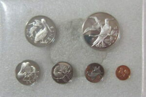 British Virgin 1974 Bird Mint Proof Set of 6 Coins, With Silver Coin