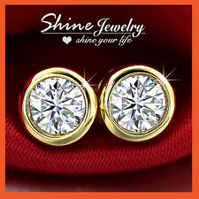18K YELLOW GOLD GF SIGNITY CT DIAMOND MENS WOMEN GIRLS BEZEL ROUND STUD EARRINGS