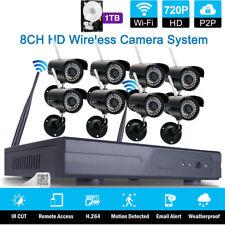 8CH Wireless P2P NVR 8Pcs Wifi IR-CUT Camera CCTV Home Security System Witn 1TB