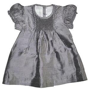 Marie chantal Charcoal Mauve 100% Silk Smocked Dress Various Sizes NWT