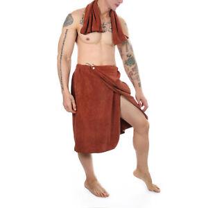 Men Bath Skirt Adjustable Wrap Front Pocket Towel Cotton Bathrobe Shower Spa
