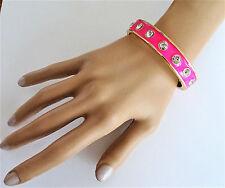 Sexy Neon Pink Crystal Bangle Bracelet Tachonado Con Cierre Con Bisagras